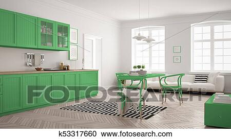 Minimalist Modern Kitchen With Dining Table And Living Room White And Green Scandinavian Interior Design Clipart K53317660 Fotosearch