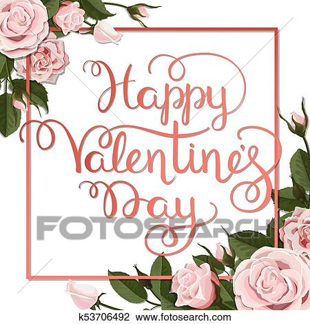 Clipart Of Valentines Day Lettering Red White Roses Flowers