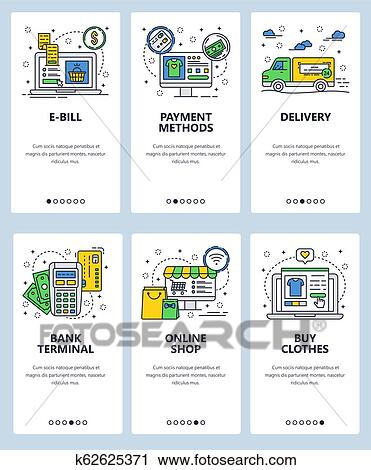 5c900a5ff Clipart - Vector web site linear art onboarding screens template. Online  shopping and internet payments