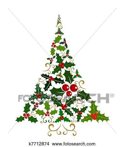 Clipart   Agrifoglio, Albero Natale. Fotosearch   Cerca Clipart,  Illustrazioni Murali, Disegni