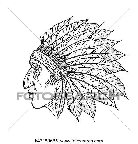 clipart - amérindien, chef indien, tête, profile., vecteur, vendange