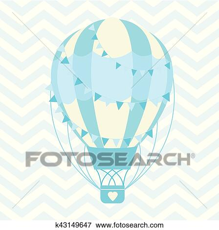 Baby Shower Illustration With Cute Blue Hot Air Balloon On Chevron Background Clip Art K43149647 Fotosearch