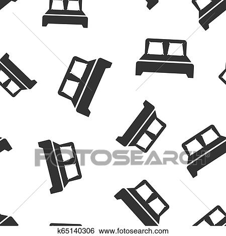 Bed Icon Seamless Pattern Background Sleep Bedroom Vector