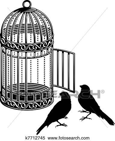Clipart cage oiseau k7712745 recherchez des clip arts des illustrations des dessins et des - Dessin oiseau en cage ...