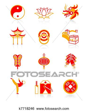 chinese cultuur, icons|, sappig, reeks clipart | k7718246 | fotosearch