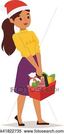 clipart of christmas shopping girl vector k41822735 search clip rh fotosearch com Woman Graphic christian women clip art free