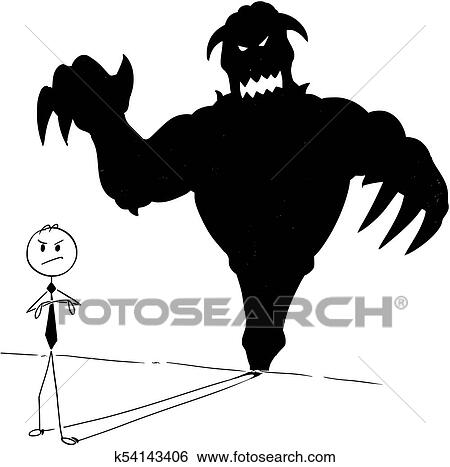 clip art of conceptual cartoon of businessman and his monster inside