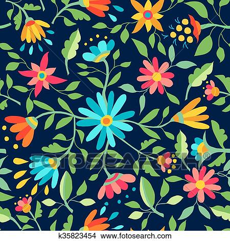 Clipart Of Flower Seamless Pattern Spring Color Background K35823454