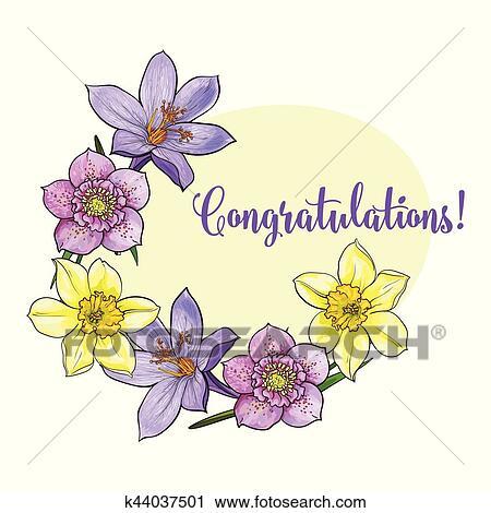 Clipart of half frame of spring flowers sketch vector greeting card clipart half frame of spring flowers sketch vector greeting card template fotosearch mightylinksfo