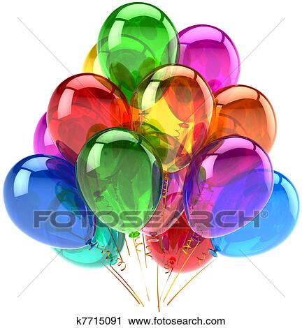 Party Balloons Happy Birthday Decoration Rainbow Multicolor Translucent Holiday Anniversary Retirement Graduation Celebrate Concept Fun Joy Abstract
