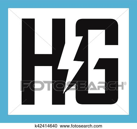 Clipart Of Hg Letter With Electric Symbol K42414640 Search Clip