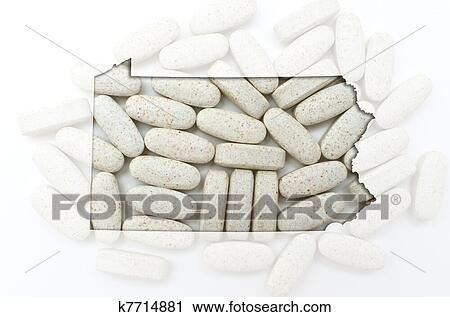 Outline Map Of Pennsylvania With Transparent Pills In The Backgr Stock Image K7714881 Fotosearch