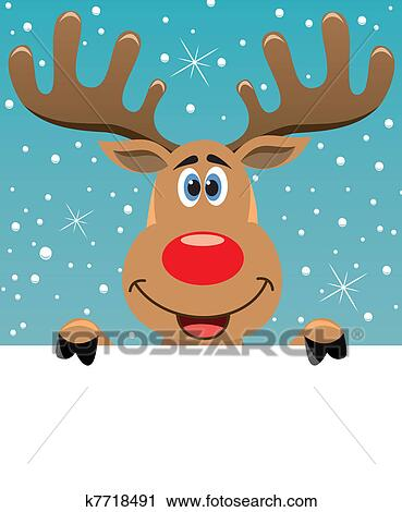clipart of rudolph deer holding blank paper k7718491 search clip