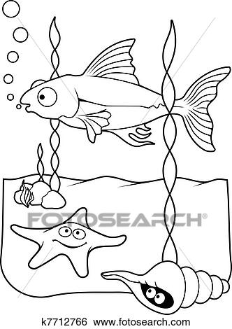Clip Art Of Sea Life Coloring Book K7712766