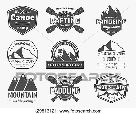 Set Of Vintage Mountain Rafting Kayaking Paddling Canoeing Camp Logo Labels And Badges Stylish Monochrome Design Outdoor Activity Theme