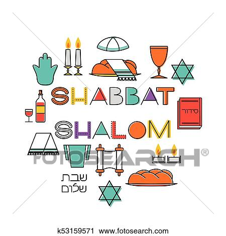Clipart of shabbat shalom greeting card k53159571 search clip art shabbat shalom greeting card star of david candles kiddush cup and challah hebrew text shabbat shalom vector illustration isolated on white m4hsunfo