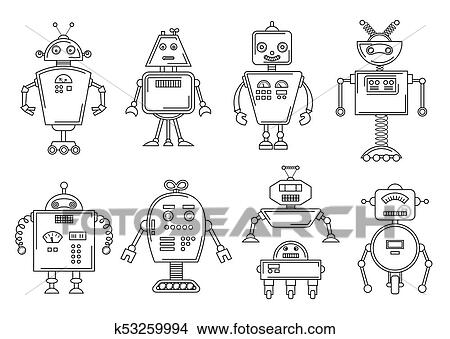 Clipart of Vector illustration of a Robot. Mechanical character ...