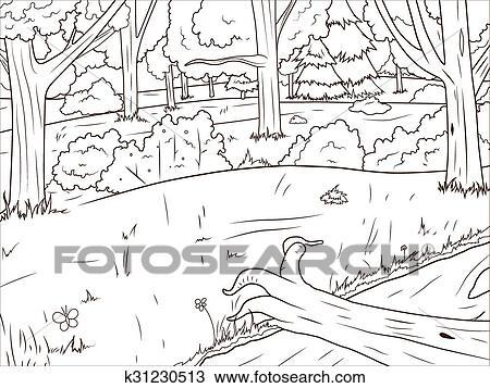 Clipart Wald Karikatur Ausmalbilder Vektor K31230513 Suche
