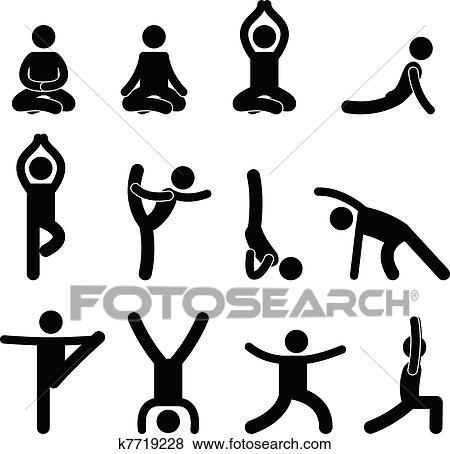 yoga meditation exercise stretching clip art  k7719228