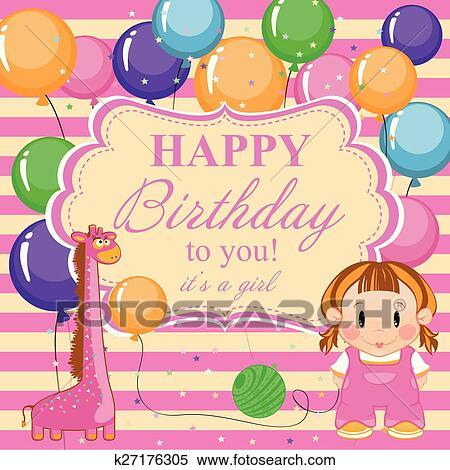 Carte Anniversaire Pour Garcon Heureux Birthday Peu Rigolote Garcon A Jouets Et Balloons Clipart K27176305 Fotosearch