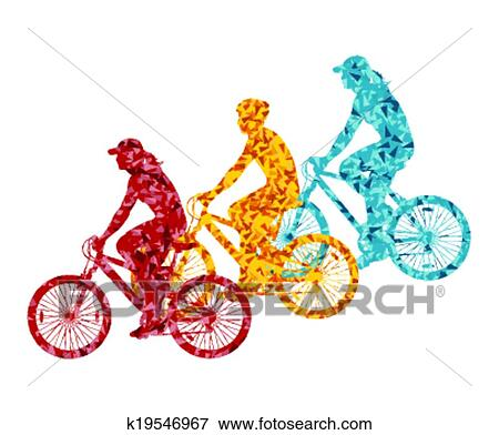 Clip Art Of Colorful Sport Road Bike Rider Bicycle Silhouette