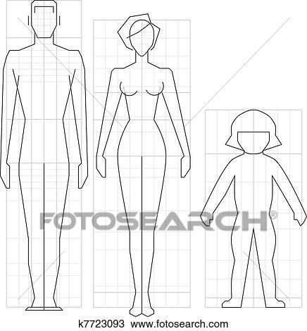 Dessin Corps Homme clipart - dessin, circuit, homme, femme enfant, corps, vecteur