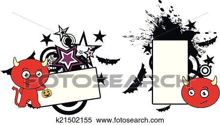 Diavolo carino cartone animato halloween clipart k