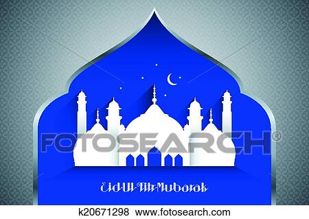 Clip art of eid al fitr greeting card k20671298 search clipart a vector illustration of eid al fitr greeting card design m4hsunfo