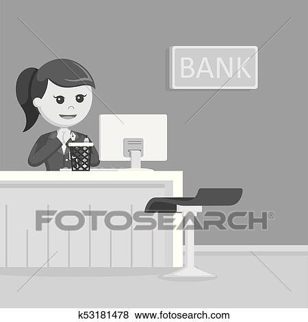 Clip Art of Female bank teller illustration design