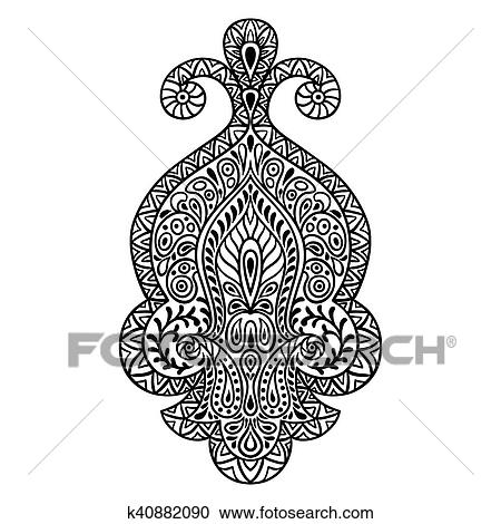 Clipart Of Indian Ethnic Ornament Hand Drawn Henna Tattoo