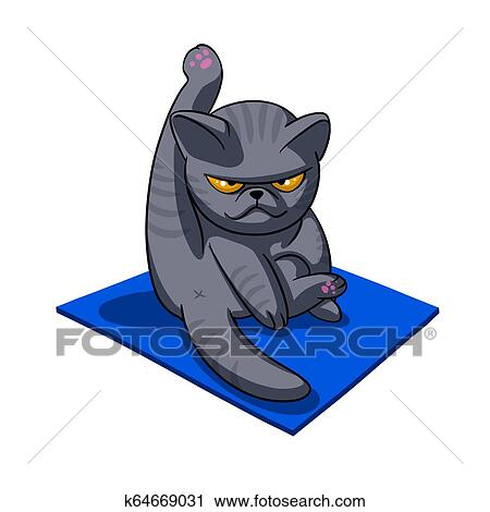 yoga cat  angry cat  grey cat  fat cat clip art