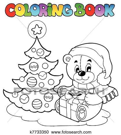 Clipart Ausmalbilder Weihnachten Teddybär K7733350 Suche Clip