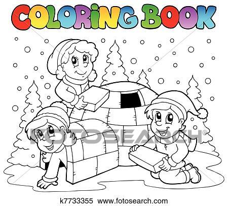 Clipart Ausmalbilder Winter Szene 1 K7733355 Suche Clip Art