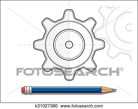 Clipart of blueprint gear and pencil vector illustration k31027380 clipart blueprint gear and pencil vector illustration fotosearch search clip art illustration malvernweather Image collections