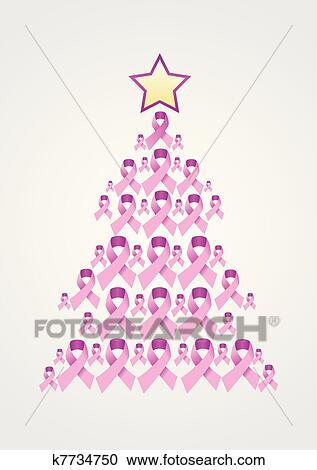 Breast Cancer Ribbon Christmas Tree Clipart
