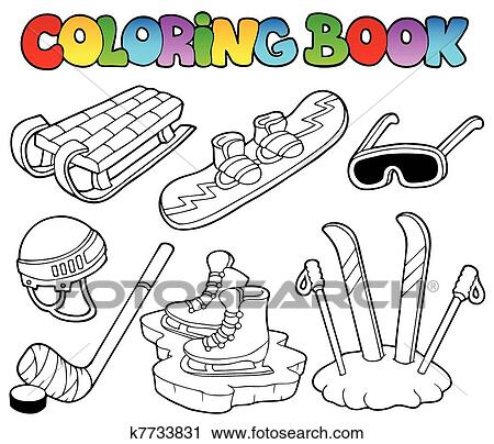 Clipart of Coloring book winter sports gear k7733831 - Search Clip ...