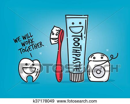 Dentes Desenhos Animados Azul Clipart K37178049 Fotosearch