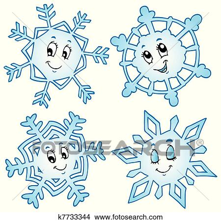 Dessin Anime Flocons Neige Collection 1 Clipart K7733344