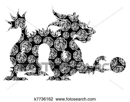 Clip Art Dragón Chino Sentado Arcaico Motivo Negro Y Blanco