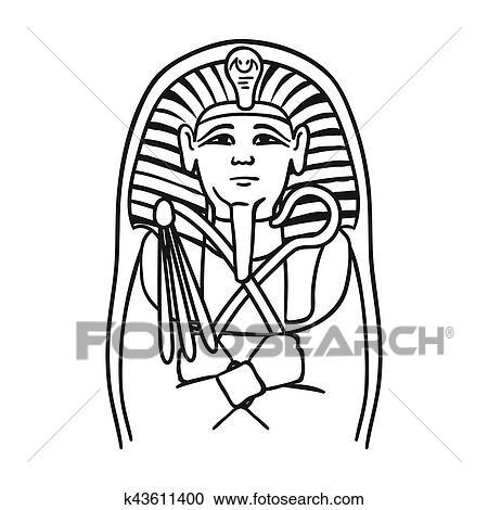 Egipcio Pharaoh Sarcofago Icone Em Esboco Estilo Isolado