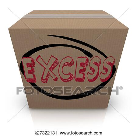 Clipart Of Excess Word Cardboard Box Overstock Too Much Supply