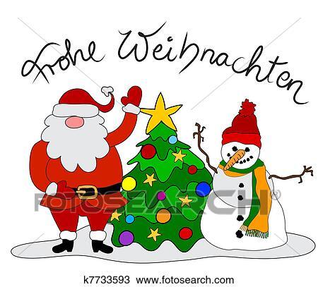 Christmas Card Drawing.German Christmas Card Drawing
