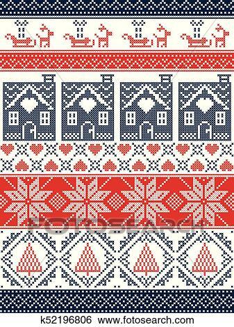 Frohe Weihnachten Norwegisch.Seamless Skandinavisch Gewebe Stil Inspiriert Per Norwegische Weihnachten Festlicher Winterbilder Seamless Muster In Kreuz Stich Mit