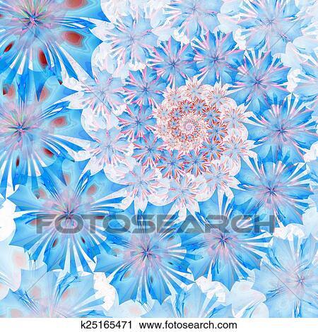 Spiral Flower Background Blue Palette Computer Generated Graph