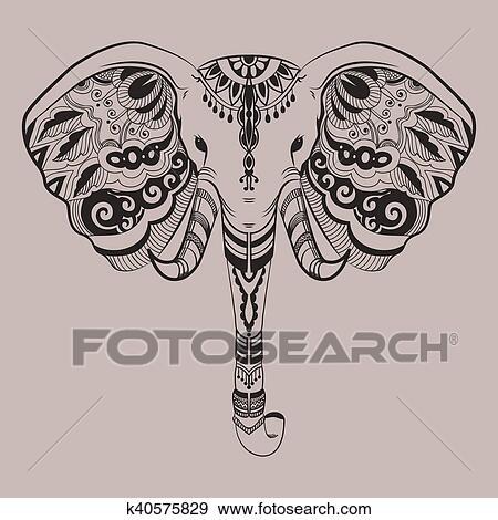 Clipart Stylise Tete Elephant Indien Animal Decoratif
