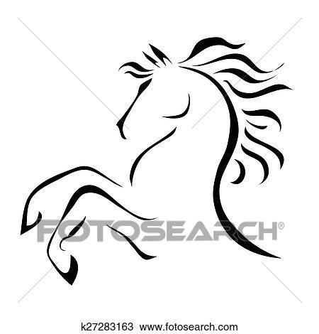 Vecteur dessin cheval clipart k27283163 fotosearch - Clipart cheval ...