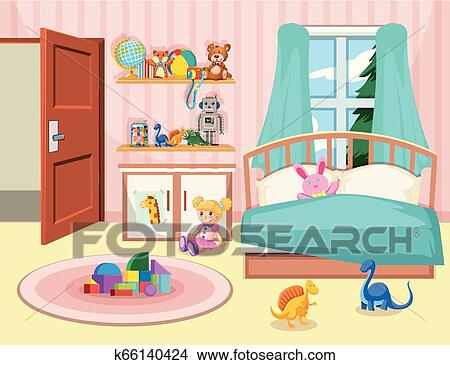 A Kid Bedroom Background Clipart K66140424 Fotosearch