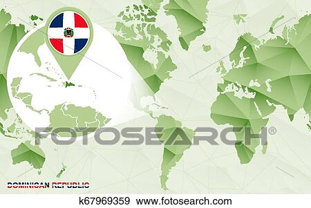 America centric world map with magnified Dominican Republic ... on cancun world map, grenada world map, indonesia world map, cuba world map, ecuador world map, guatemala world map, haiti world map, jamaica world map, aruba world map, panama world map, peru world map, bahamas world map, honduras world map, philippines world map, portugal world map, caribbean map, mexico world map, st. lucia world map, samoa world map,