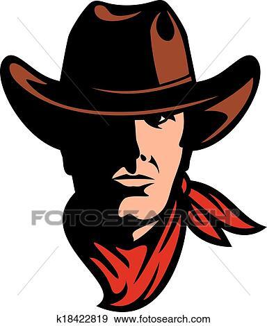 Clip Art Of American Cowboy Head K18422819 Search