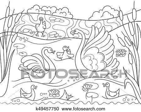 Clipart Childrens Ausmalbilder Karikatur Familie Von Schwan